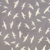Moda - Ahoy Me Hearties by Janet Clare - 5703 - Birds on Grey - 1431 15 - Cotton Fabric